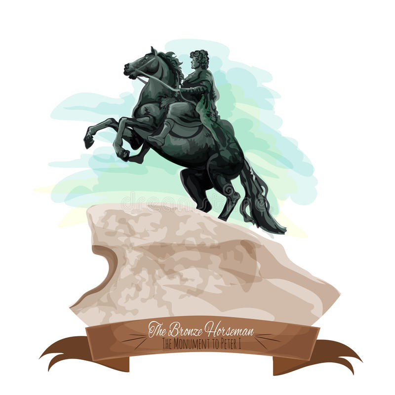 Russian travel sight icon with The Bronze Horseman vector illustration