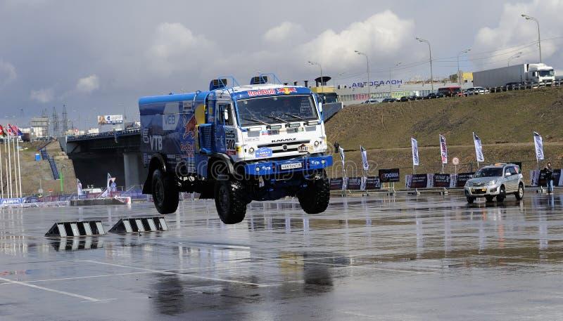 Russian truck rally Kamaz in jump stock photo