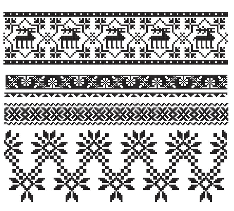 Russian ukrainian black embroider stock illustration