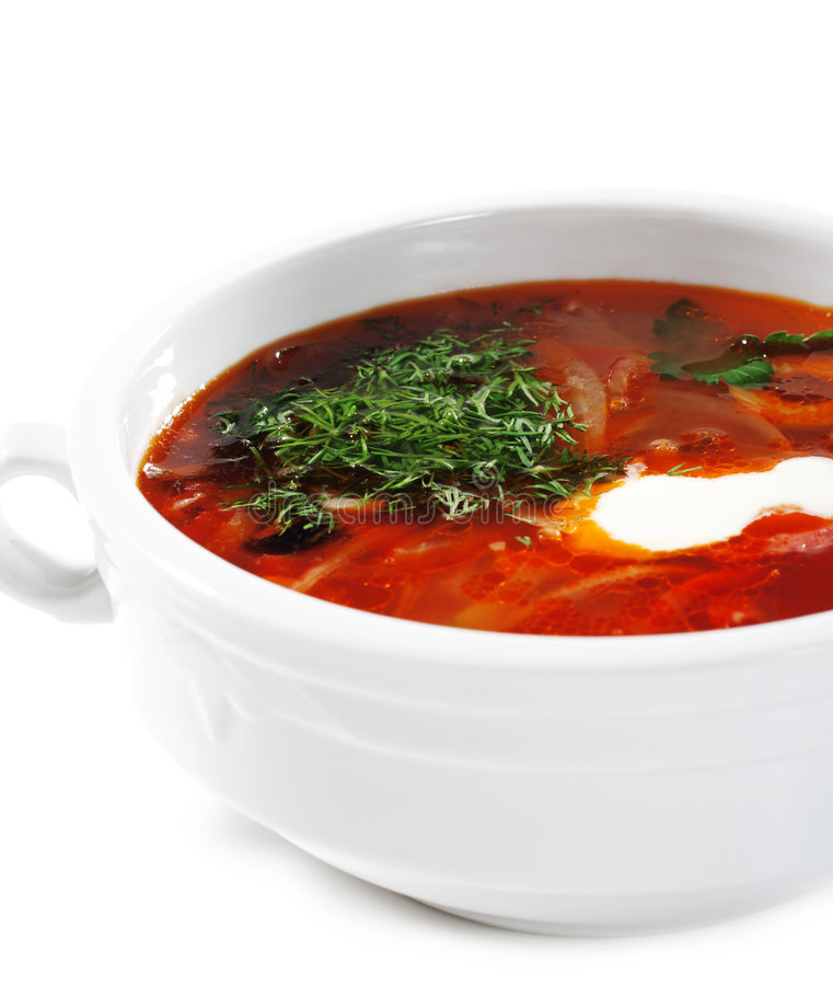 Russian and Ukrainian Cuisine - Soup Solyanka. Russian and Ukrainian Cuisine - Solyanka is a Thick, Spicy and Sour Soup. Isolated on White Background stock photos