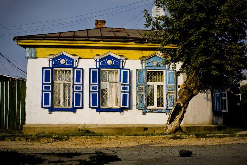 Russian village house stock photos