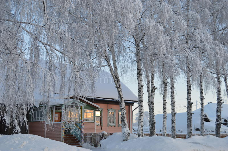 Russian village in the winter royalty free stock images