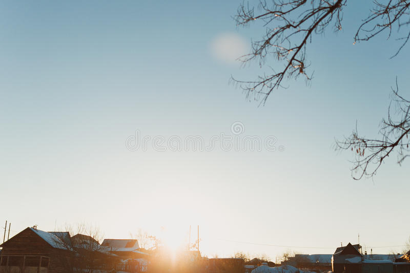 Download Russian village in winter stock image. Image of color - 51227629