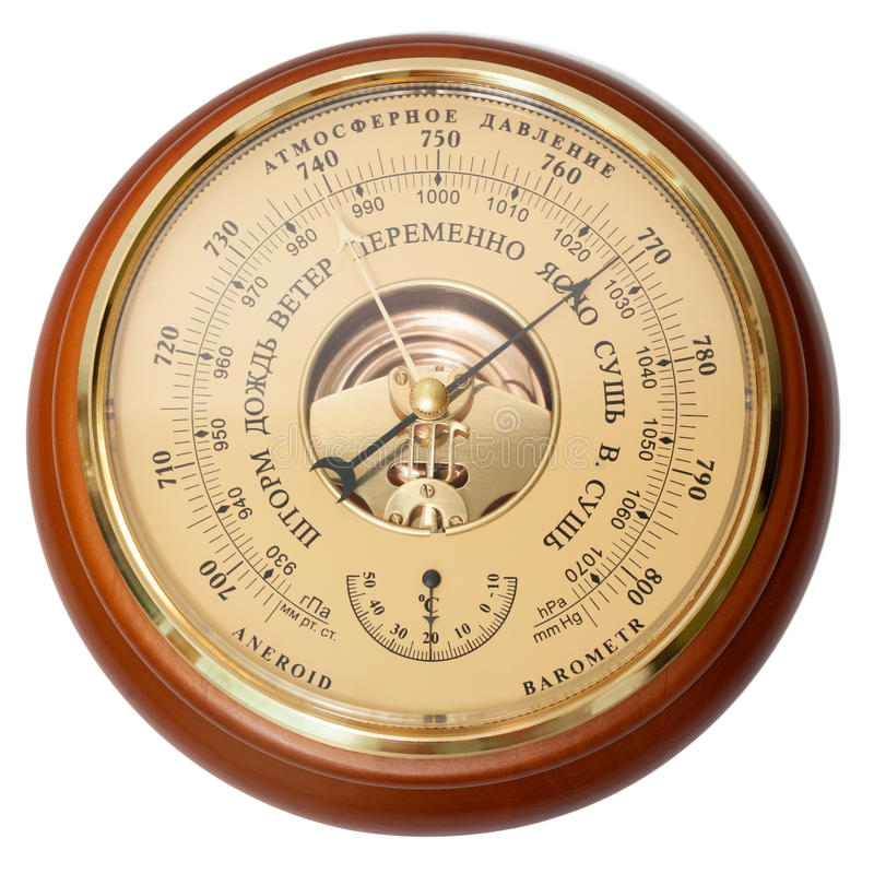 Russian vintage aneroid barometr. On isolated white royalty free stock image
