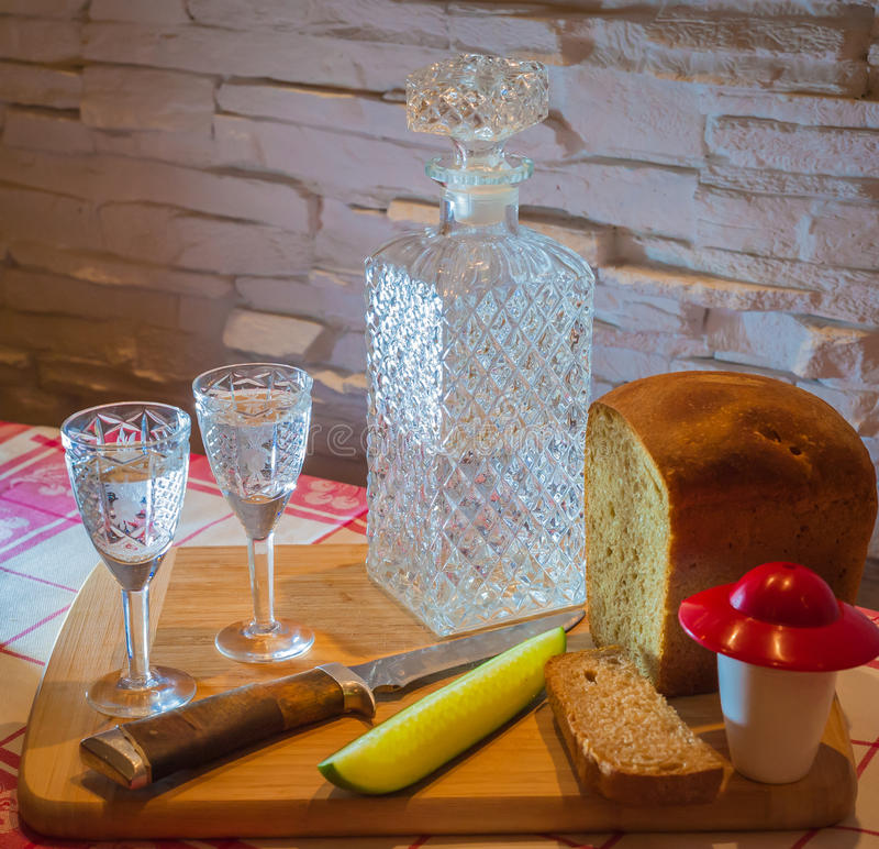 Russian vodka carafe bread stock photo