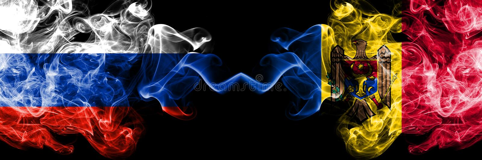 Russian vs Moldova, Moldovan smoke flags placed side by side. Thick colored silky smoke flags of Russia and Moldova, Moldovan stock photo