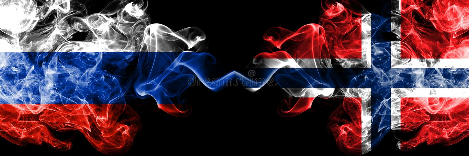 Russian vs Norway, Norwegian smoke flags placed side by side. Thick colored silky smoke flags of Russia and Norway, Norwegian stock photos