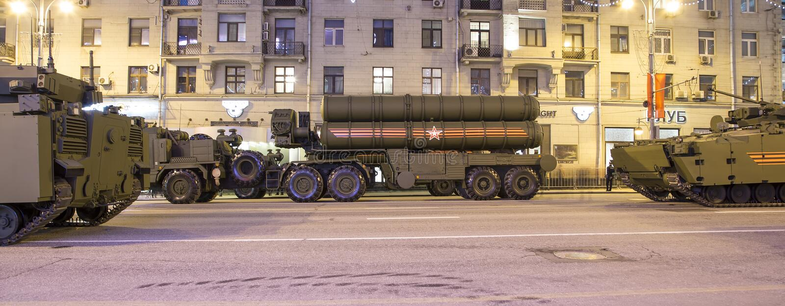 Russian weapons. Rehearsal of military parade (at night) near the Kremlin, Moscow, Russia. (on May 04, 2015).Celebration of the 70th anniversary of the Victory stock photo