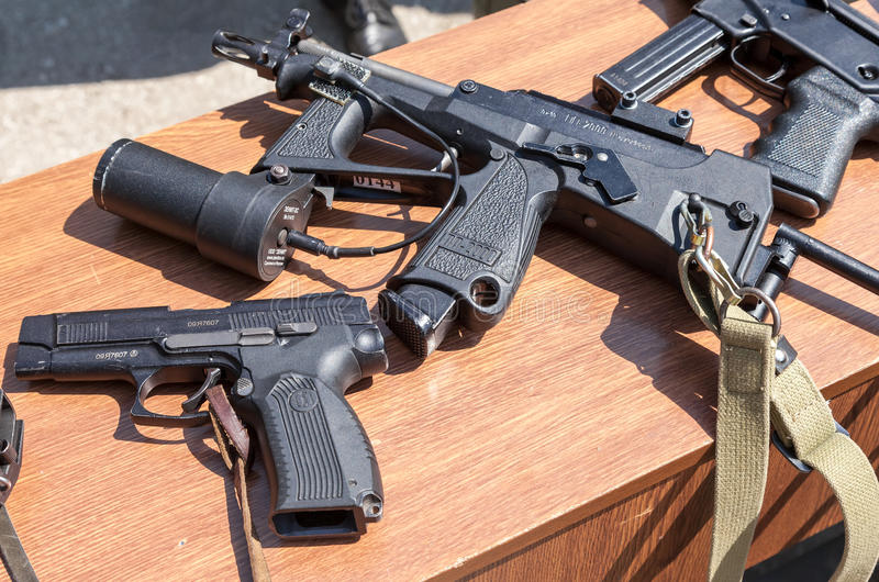 Russian weapons. SAMARA, RUSSIA - MAY 30, 2015: Russian weapons. Submachine gun PP-2000 - personal defense weapon. Yarygin PYa, MP-443 Grach royalty free stock images