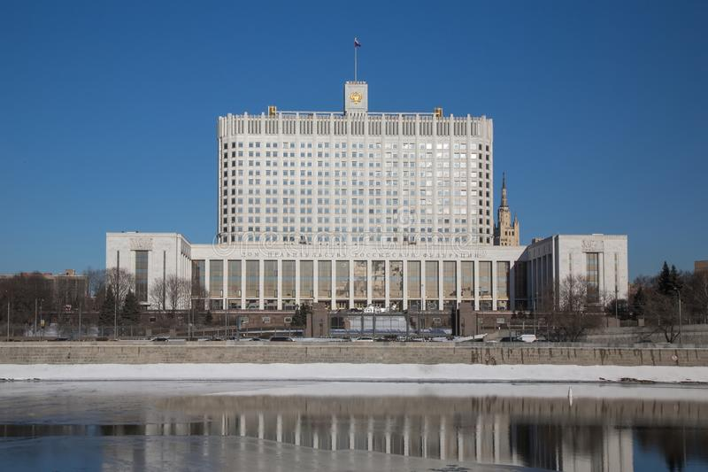 Russian white house in spring on blue sky . royalty free stock photo