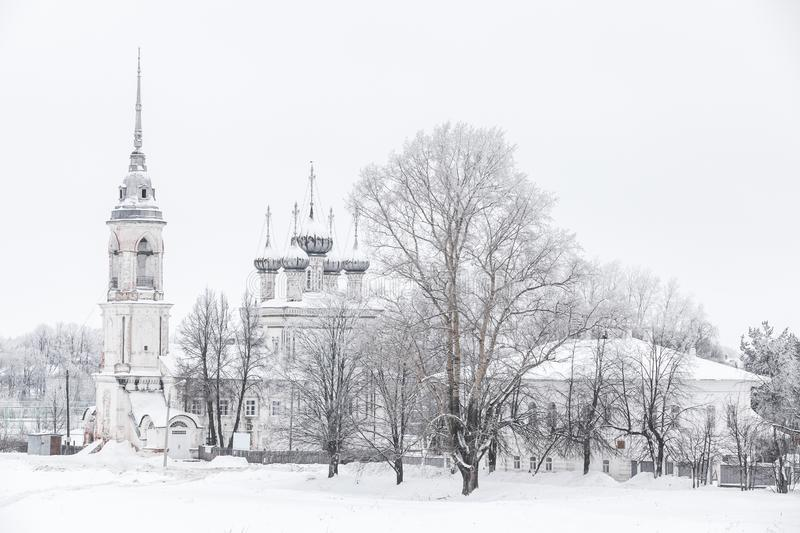 Russian winter landscape with Church stock image