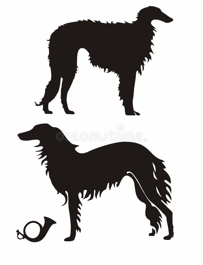 Download Russian Wolfhound stock vector. Image of clip, hunting - 34105379
