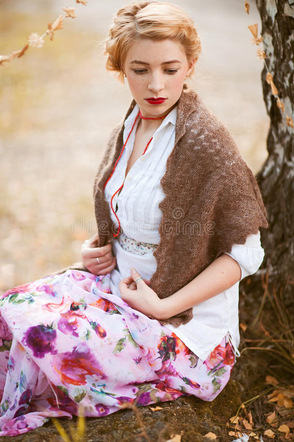 Russian woman. Portrait of beautiful woman in russian traditional dress stock photos