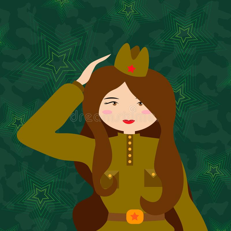 Russian woman retro soldier. Military woman in the form of the Red Army stock illustration