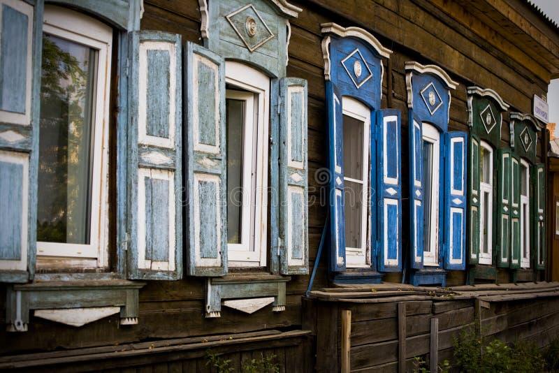 Russian wood windows royalty free stock image