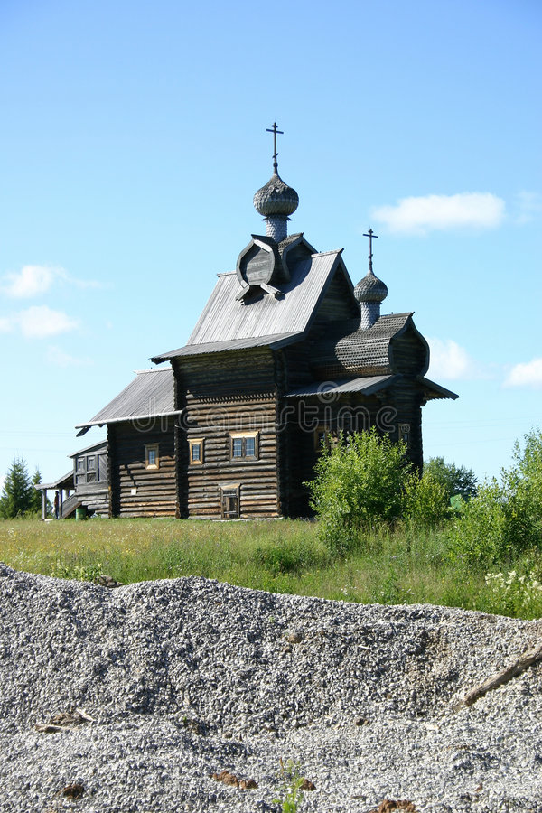 Russian wooden cathedral stock photography
