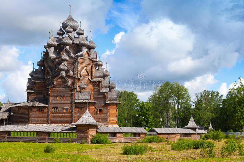 Russian wooden Church of the Intercession stock images
