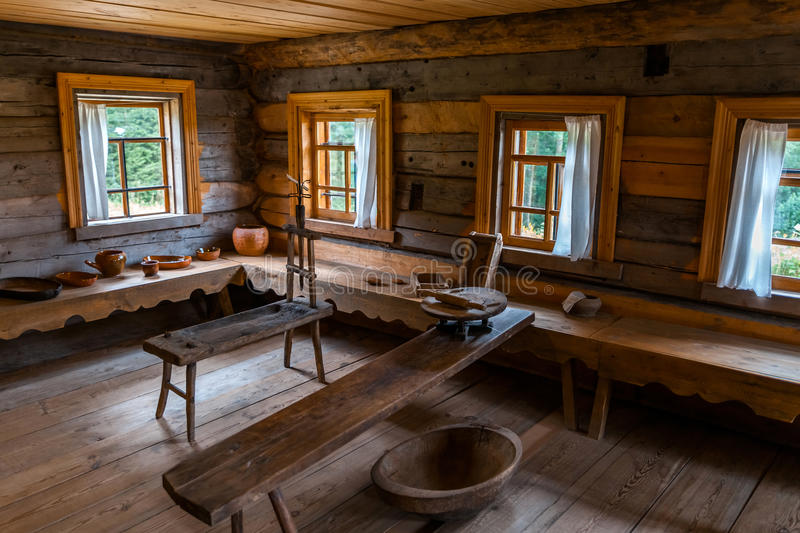 Download Russian Wooden House Interior Stock Photo