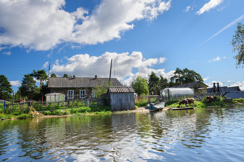 Russian Wooden Houses At River Bank Stock Photo - Image of ...
