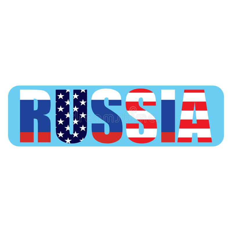 Russian word with Usa and Russian flags background inside the word vector eps10. Russia vs USA. vector illustration