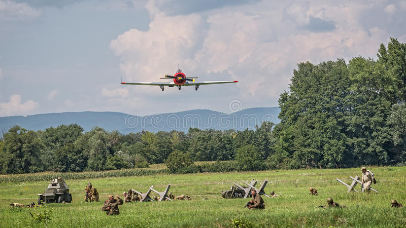 Russian Yak bomber approaching the battlefield royalty free stock image