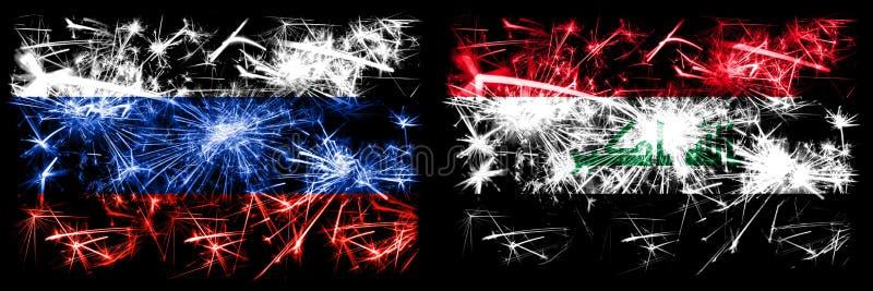Russie, Russie contre Irak, célébration du Nouvel An irakien feux d'artifice drapeaux de fond Combinaison de deux drapeaux d'état illustration libre de droits