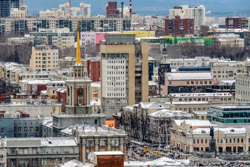 Russie yekaterinburg Endroits iconiques célèbres dans la ville Paysage de ville d'hiver photo stock