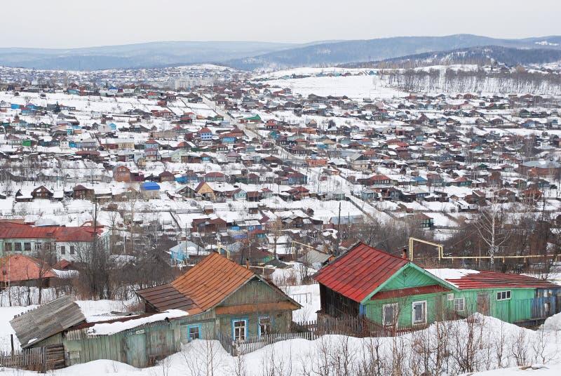 Russisch dorp in de winter royalty-vrije stock afbeelding