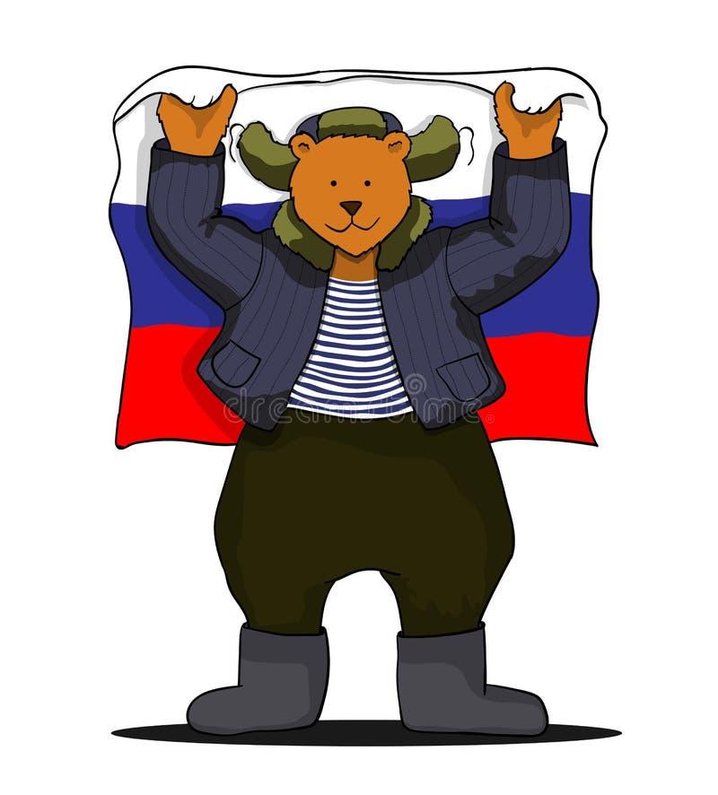 Russisch draag met Russische vlag vector illustratie