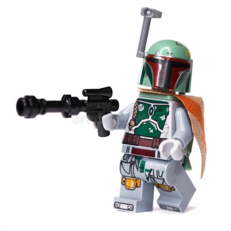 RUSSISCH, 16, 2019 Erbauer Lego Star Wars Kopfgeldjäger Boba Fett lizenzfreies stockfoto