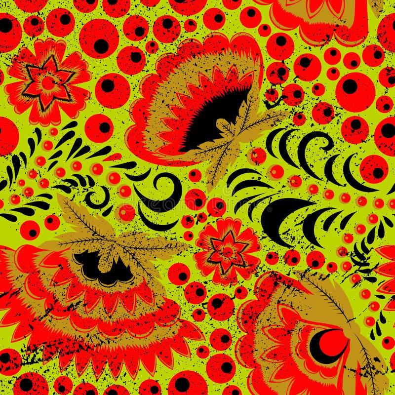 Russisch etnisch khokhloma naadloos patroon vector illustratie
