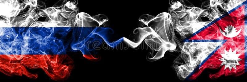 Russisch gegen Nepal, nepalesische Rauchflaggen nebeneinander gesetzt Dicke farbige seidige Rauchflaggen von Russland und von Nep stockfotografie