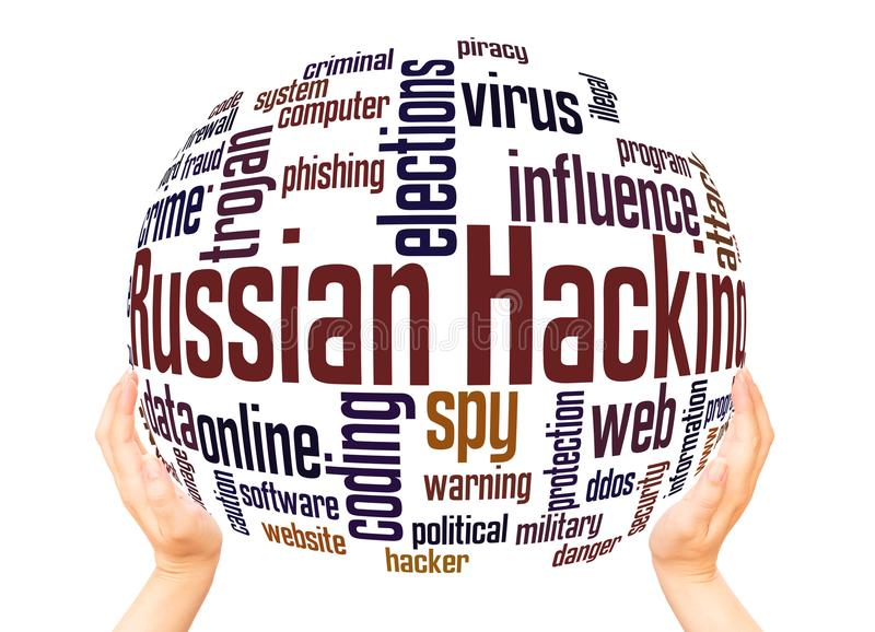 Russisch het binnendringen in een beveiligd computersysteem het gebiedconcept van de woordwolk royalty-vrije illustratie