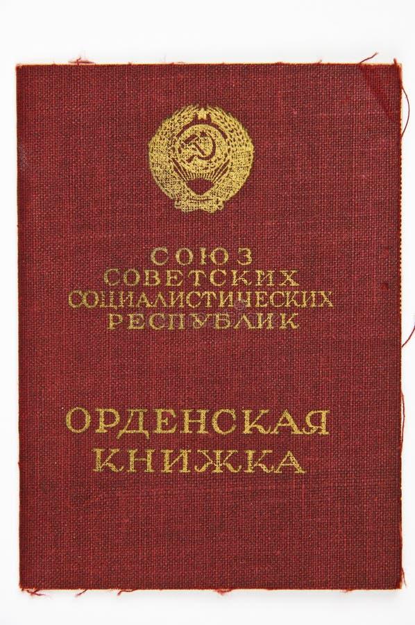 Russisch militair medaillecertificaat stock foto