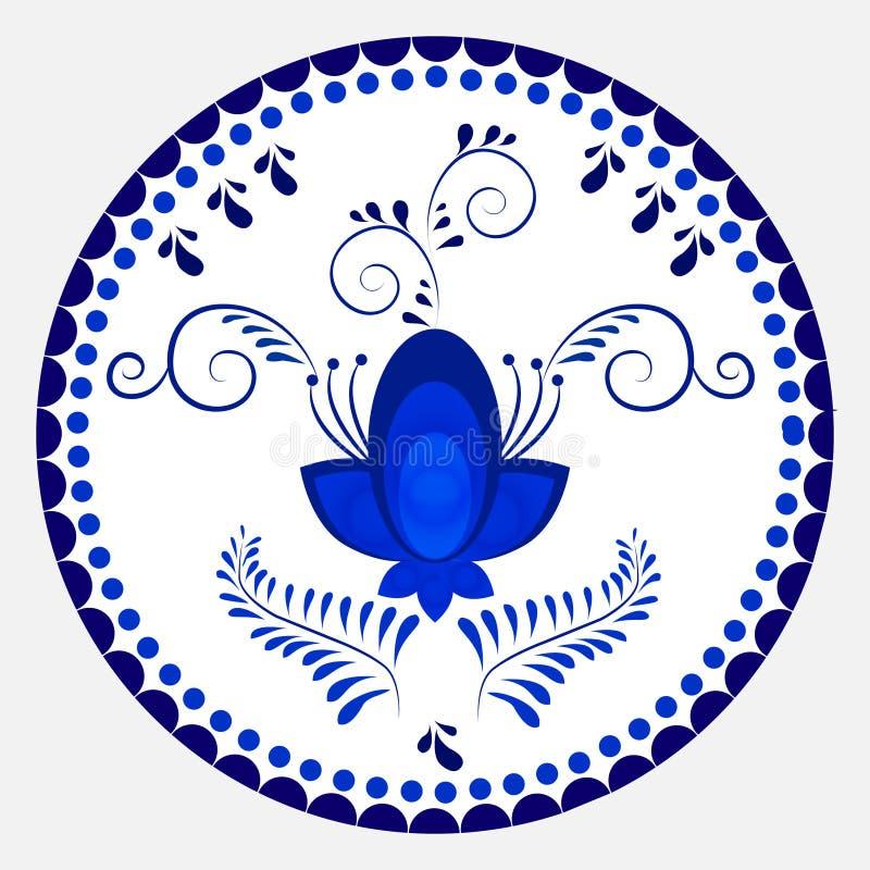Russisch nationaal cirkelornament Blauw bloemenpatroon in Gzhel stock illustratie