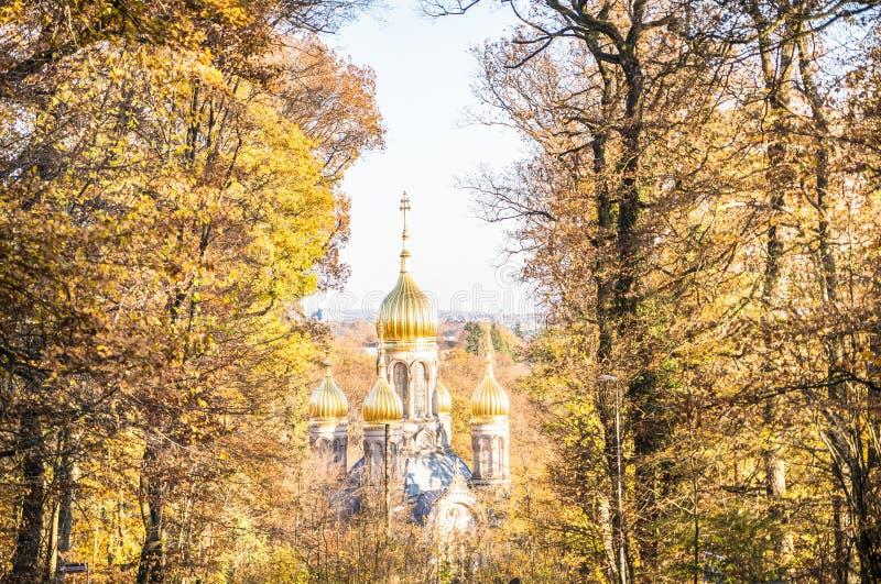 Russisch orthodoxe chapel Wiesbaden, Duitsland stock fotografie