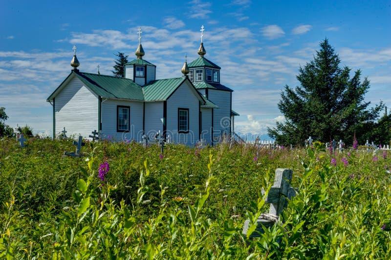 Russisch-Orthodoxe Kirche die Transfiguration unseres Lords, Ninilch lizenzfreie stockfotografie