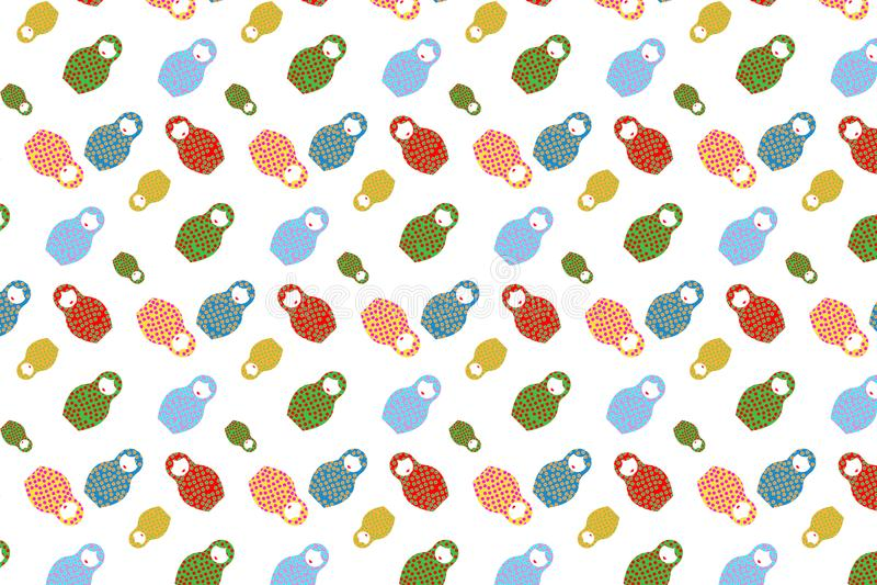 Russisch poppen naadloos patroon - Achtergrond Matryoshka, volks geïsoleerd kunstontwerp, stock illustratie