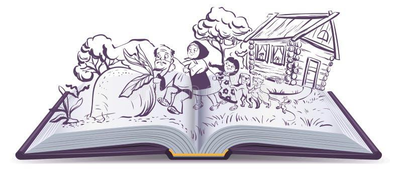 Russisch sprookje de raap Open Boek vector illustratie