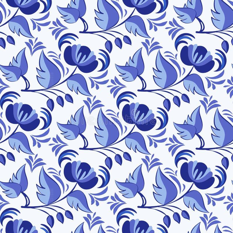 Russisch stijl gzhel naadloos patroon Bloemen achtergrond Gebaseerd bij het nationale porselein schilderen stock illustratie