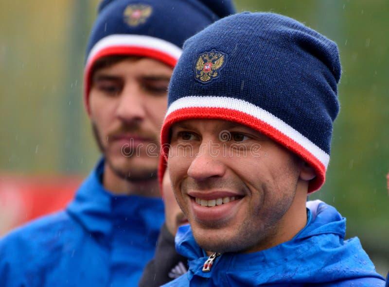 Russisch striker en team kapitein Fedor Smolov in opleidingssessio royalty-vrije stock afbeeldingen