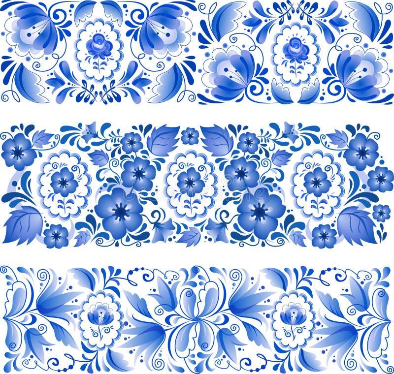 Russisch traditioneel blauw ornament in gzhelstijl stock illustratie