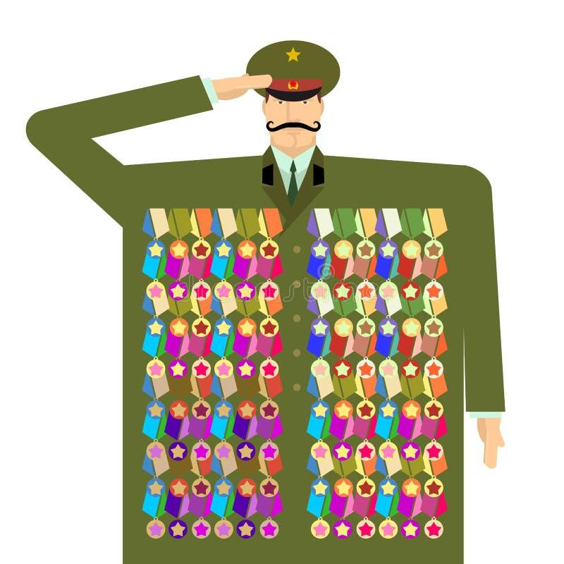 Russische ambtenaar en toekenning en medailles Illustratie voor 23 Febru stock illustratie