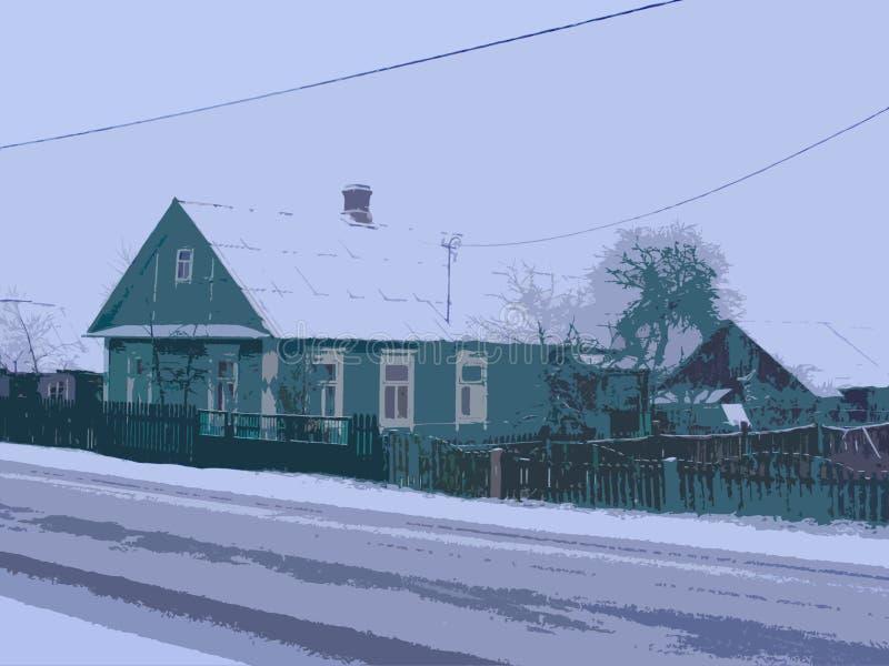 Russische architectuur Mooi blokhuis in traditionele Russische stijl De Kerstman op een slee Van het landschap vectorook beschikb stock illustratie