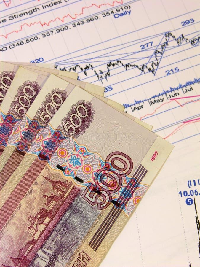 Russische bankbiljetten en voorraadprijzen royalty-vrije stock foto