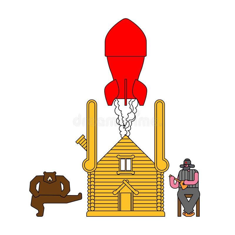 Russische Bombe in der Hütte Geheimer Raketenwerfer im hölzernen Haus vektor abbildung