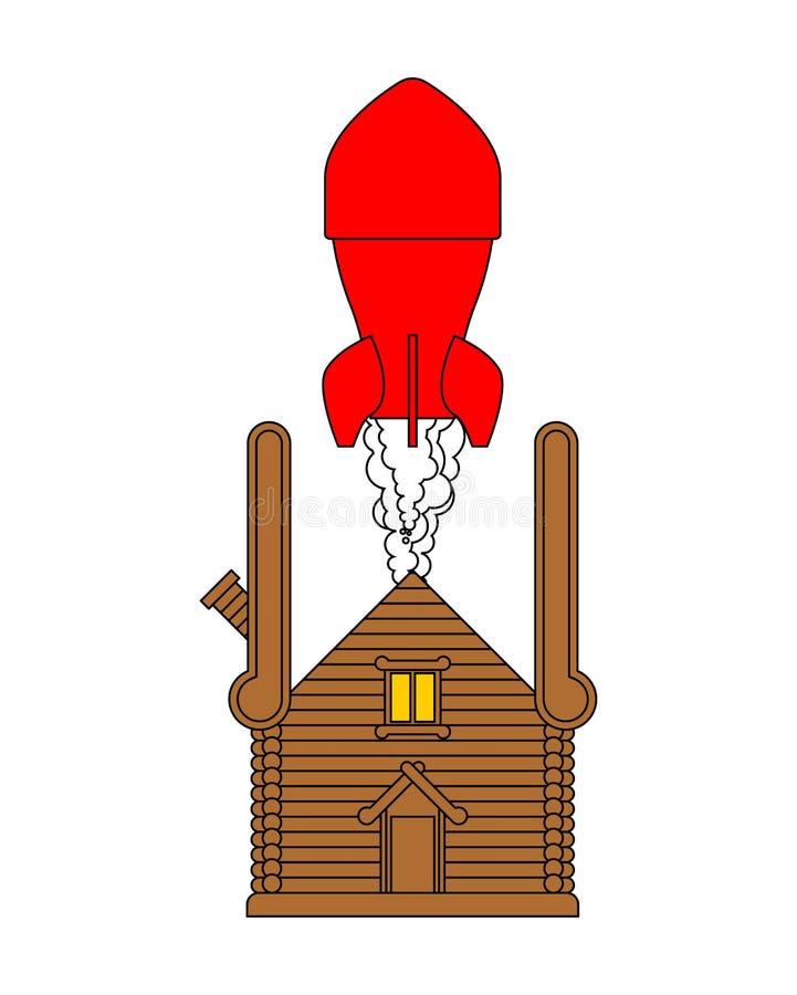 Russische Bombe in der Hütte Geheimer Raketenwerfer im hölzernen Haus stock abbildung