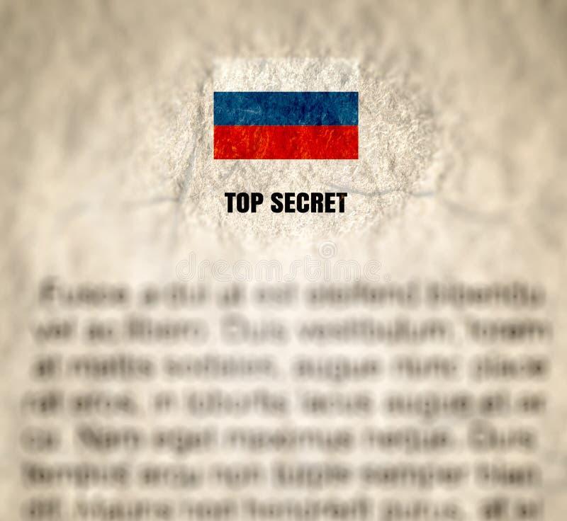 Russische bovenkant - geheim document verfrommeld geweven document royalty-vrije stock afbeelding