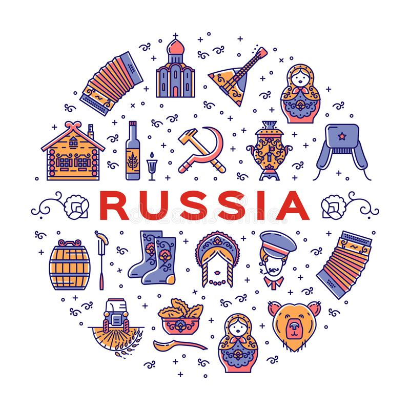 Russische de cirkelinfographics van lijnpictogrammen Russische traditionele symbolen Kleurrijke affiche stock illustratie