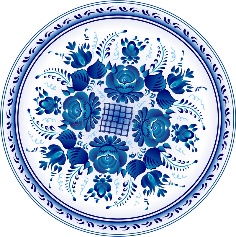 Russische dekorative dekorative Platte. Gzhel vektor abbildung